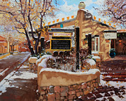 Ristra Painting Framed Prints - Canyon road Winter Framed Print by Gary Kim
