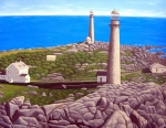 Lighthouse Images Paintings - Cape Ann Twin Towers by Frederic Kohli