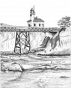 Oregon Drawings - Cape Arago Lighthouse by Lawrence Tripoli