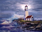 Crashing Waves Paintings - Cape Blanco Oregon Lighthouse on Rocky Shores by Gina Femrite