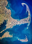 Satellite View Posters - Cape Cod and Islands Spring 1997 view from satellite Poster by Matt Suess