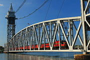 Railroad Metal Prints - Cape Cod Canal Railroad Bridge Train Metal Print by John Burk