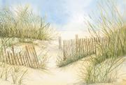 Peaceful Scene Paintings - Cape Cod Dunes and Fence by Virginia McLaren