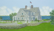 House Portrait Prints - Cape Cod House Portrait Print by David Hinchen