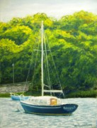 Sailboat Ocean Pastels Framed Prints - Cape Cod Sailboat Framed Print by Joan Swanson