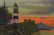 Sunset Greeting Cards Mixed Media Posters - Cape Disappointment Poster by James Lyman