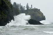 Haystack Rocks Prints - Cape Disappointment Lighthouse Print by Bob Christopher
