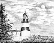 Lighthouse Drawings - Cape Disappointment Lighthouse by Lawrence Tripoli