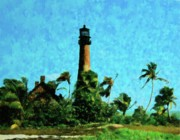 Blue Brick Mixed Media Prints - Cape Florida Lighthouse Print by Florene Welebny