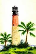 Cape Florida Lighthouse Posters - Cape Florida Lighthouse Poster by Michael Vigliotti