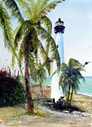 Cape Florida Lighthouse Posters - Cape Florida lighthouse Poster by Sibby S