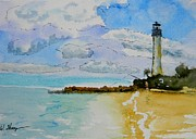 Cape Florida Lighthouse Art - Cape Florida Lighthouse by Warren Thompson