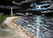Wave Mixed Media - Cape Florida Lite at Midnight by Riley Geddings