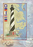 Nautical Chart Posters - Cape Hatteras Collage Poster by Ernestine Grindal