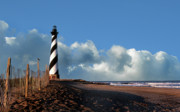 Fence Framed Prints - Cape Hatteras Light Framed Print by Skip Willits