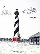 Historic Buildings Images Drawings Framed Prints - Cape Hatteras Lighthouse Drawing Framed Print by Frederic Kohli
