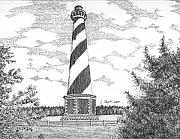 Historical Buildings Drawings Prints - Cape Hatteras Lighthouse Print by Lawrence Tripoli