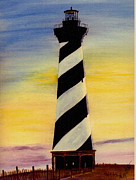 Lighthouse Art Paintings - Cape Hatteras Lighthouse by Michael Vigliotti