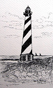 Seacoast  Drawings Metal Prints - Cape Hatteras Lighthouse NC Metal Print by Julie Brugh Riffey
