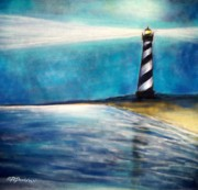 Night Pastels - Cape Hatteras Lighthouse Night Glow by Patricia L Davidson