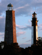 White Lighthouse Prints - Cape Henry Lighthouses In Virginia Print by Skip Willits