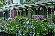 Porches Framed Prints - Cape May house and garden. Framed Print by John Greim