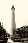 Jersey Shore Digital Art Posters - Cape May Lighthouse in Sepia Poster by Bill Cannon