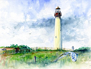 Lighthouse Paintings - Cape May Lighthouse by John D Benson