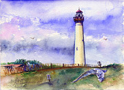 John Benson Paintings - Cape May Lighthouse Noon by John D Benson