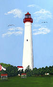 North American Lighthouses - Paintings By Frederic Kohli - Cape May Painting by Frederic Kohli