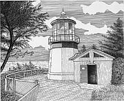Historical Buildings Drawings Prints - Cape Meares Lighthouse Print by Lawrence Tripoli