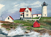 Nubble Lighthouse Painting Metal Prints - Cape Neddic Lighthouse  Metal Print by Nancy Patterson