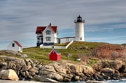 Nubble Lighthouse Posters - Cape Neddick Lighthouse Poster by Monica Scanlan