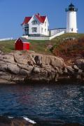 Nubble Lighthouse Metal Prints - Cape Neddick Lighthouse York Maine Metal Print by George Oze