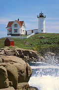 Southern Maine Posters - Cape Neddick Nubble Lighthouse Maine Poster by Jeff Clinedinst