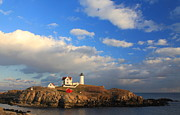 Nubble Lighthouse Metal Prints - Cape Neddick Nubble Lighthouse Maine Metal Print by John Burk