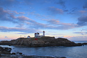 Cape Neddick Framed Prints - Cape Neddick Nubble Lighthouse Twilight Framed Print by John Burk