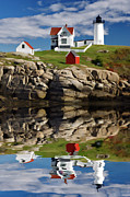 Nubble Lighthouse Digital Art Framed Prints - Cape Neddick Reflection - D003756a Framed Print by Daniel Dempster