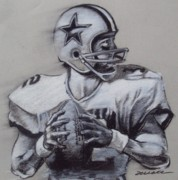 Nfl Drawings Prints - Capitan America Print by Jim Wetherington