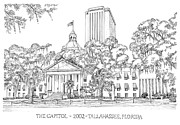 Confederate Flag Drawings Prints - Capitol 2002 Tallahassee Print by Audrey Peaty