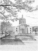 Oregon Drawings - Capitol Building - Salem - Oregon by Lawrence Tripoli