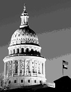 Austin Digital Art Posters - Capitol Dome BW10 Poster by Scott Kelley
