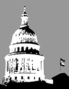 Austin Digital Art Posters - Capitol Dome BW3 Poster by Scott Kelley
