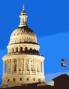 Austin Digital Art Posters - Capitol Dome Color 10 Poster by Scott Kelley