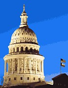 Austin Digital Art Posters - Capitol Dome Color 16 Poster by Scott Kelley