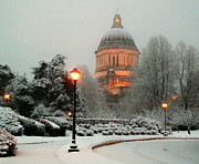 Winter Scene Digital Art Prints - Capitol In Snow Print by Michael Wyatt