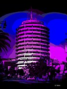 Los Angeles Digital Art Metal Prints - Capitol Records Building Metal Print by George Pedro