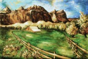 Oil On Canvas Drawings - Capitol Reef National Park - Utah Landscape by Peter Art Prints Posters Gallery