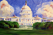 Politics Paintings - Capitol by Stephen Roberson
