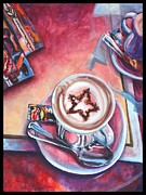 Cup Paintings - Cappuccino in Cortona by Jami Childers